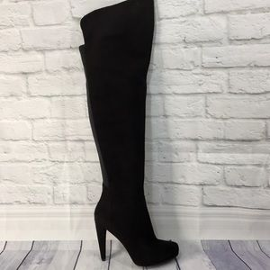 Black suede leather over the knee boots size 7